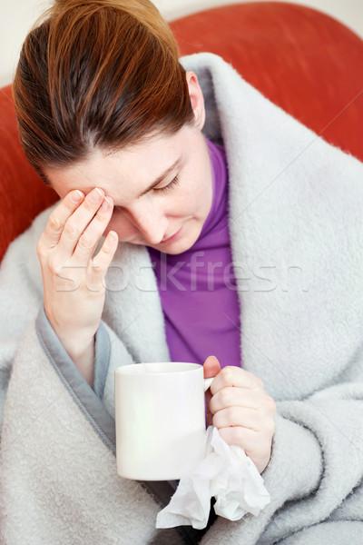Malade femme maux de tête jeunes tasse Photo stock © imarin