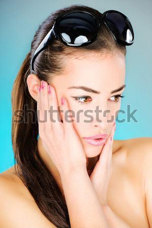woman with big black sun glasses Stock photo © imarin