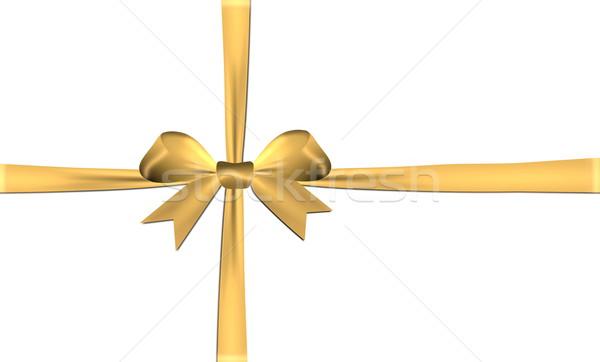 Altın yay yalıtılmış beyaz saten Stok fotoğraf © impresja26