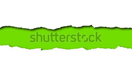 Yırtık kağıt yeşil uzay metin yalıtılmış beyaz Stok fotoğraf © impresja26