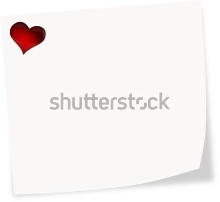 White stick note on a white background with heart  Stock photo © impresja26
