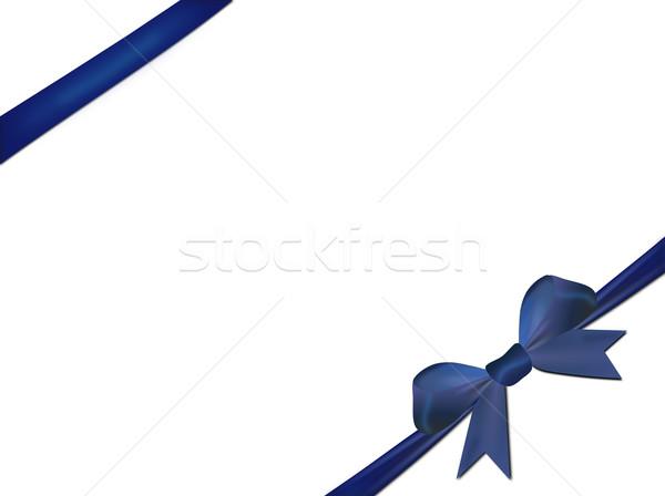 Mavi yay yalıtılmış beyaz kâğıt parti Stok fotoğraf © impresja26