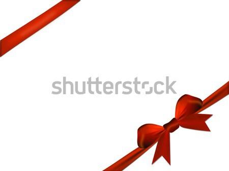 Kırmızı yay yalıtılmış beyaz kâğıt parti Stok fotoğraf © impresja26