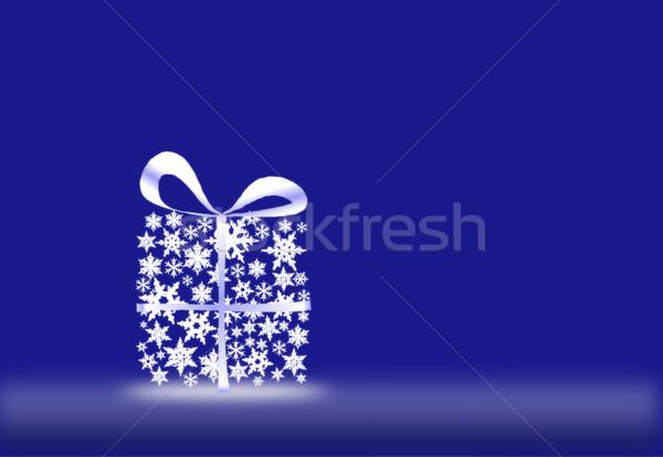 Hediye kar taneleri mavi soyut beyaz sunmak Stok fotoğraf © impresja26