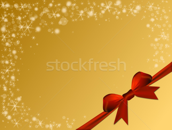 Shiny golden background with red bow Stock photo © impresja26