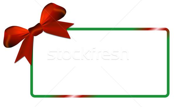 Yeşil çerçeve kırmızı yay beyaz Stok fotoğraf © impresja26