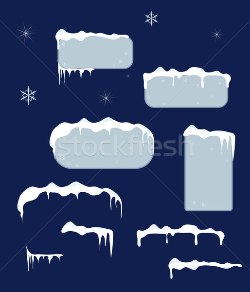 Christmas sale stickers and tags with icicles Stock photo © impresja26