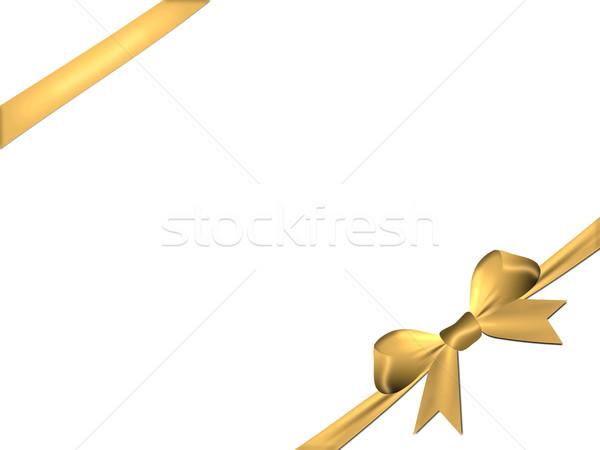 Altın yay şerit yalıtılmış beyaz saten Stok fotoğraf © impresja26