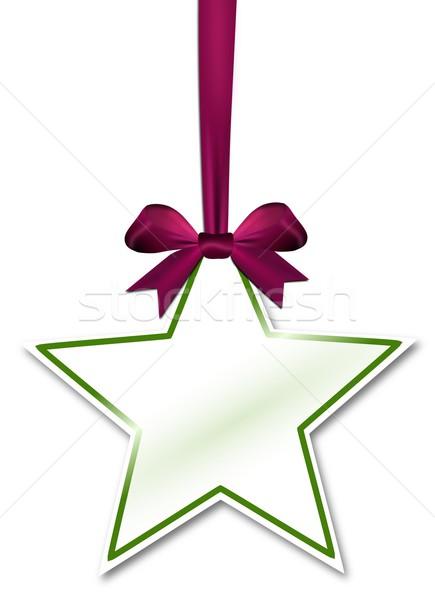 Dekoratif star mor kırmızı yay beyaz Stok fotoğraf © impresja26