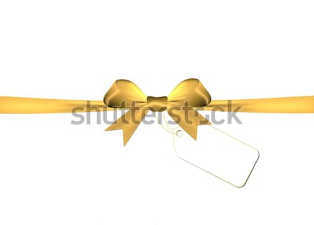 Golden bow with golden ribbon isolated on a white background Stock photo © impresja26
