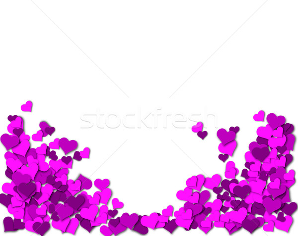 Stok fotoğraf: çerçeve · mor · kalpler · beyaz · sevgililer · günü · sevmek