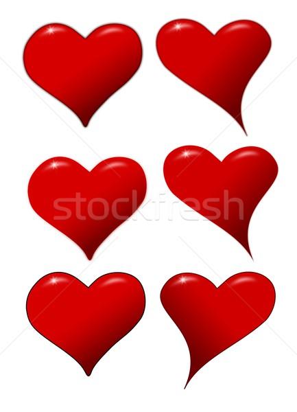 Corações ícones dia dos namorados vermelho branco festa Foto stock © impresja26