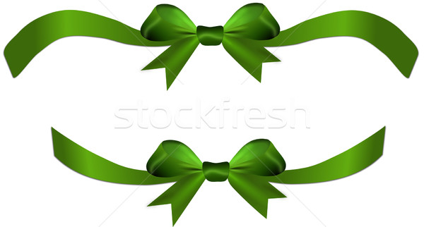Yeşil yay şerit hediye kalp yalıtılmış Stok fotoğraf © impresja26