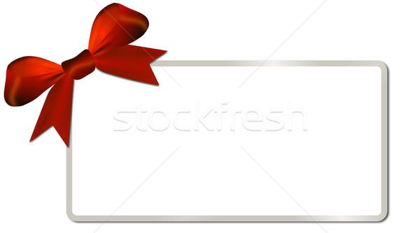 Gümüş çerçeve kırmızı yay beyaz Stok fotoğraf © impresja26