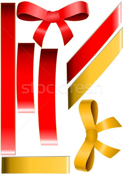 Kırmızı altın yaylar sevmek doğum günü Stok fotoğraf © impresja26