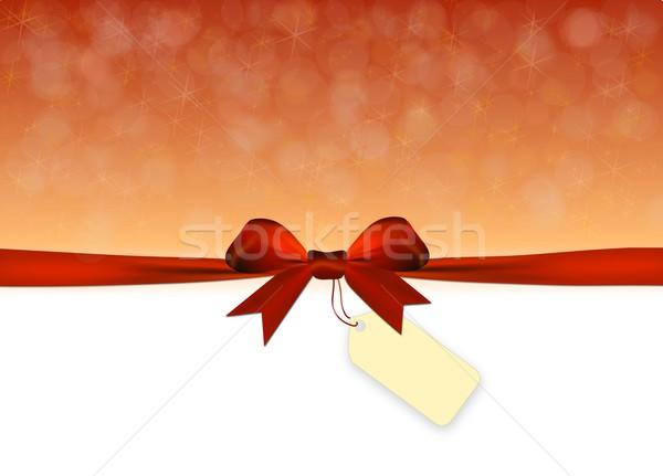 Parlak altın kırmızı yay etiket etiket Stok fotoğraf © impresja26