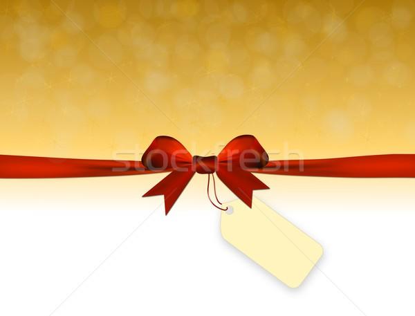 Błyszczący złoty czerwony łuk cena tag Zdjęcia stock © impresja26