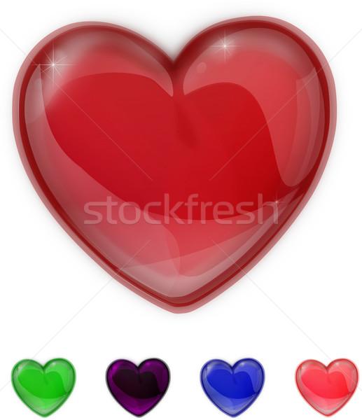 Azul vidro brilhante coração isolado branco Foto stock © impresja26