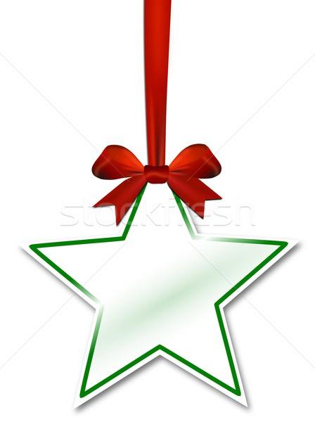 Dekoratif star kırmızı yay beyaz kâğıt Stok fotoğraf © impresja26