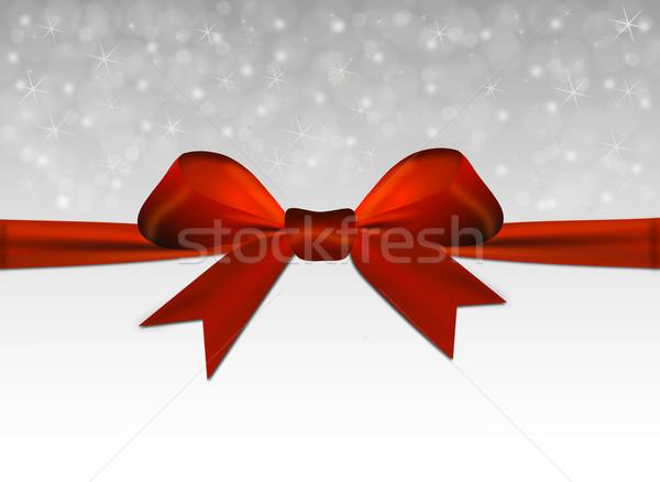 Prata natal vermelho arco feliz projeto Foto stock © impresja26