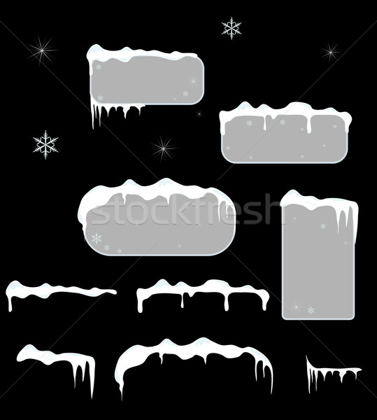 Christmas sale stickers and tags with icicles, snow top. Stock photo © impresja26