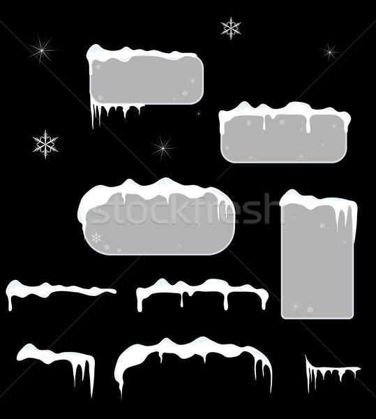 Christmas verkoop stickers sneeuw top Stockfoto © impresja26