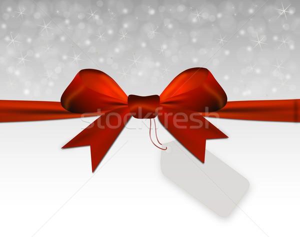 Gümüş Noel kırmızı yay fiyat etiket Stok fotoğraf © impresja26