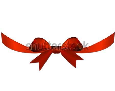 Kırmızı yay şerit hediye kalp valentine Stok fotoğraf © impresja26