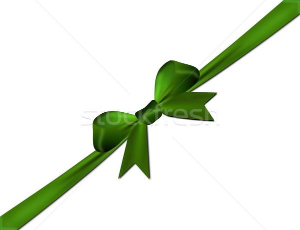Yeşil yay yalıtılmış beyaz kâğıt Stok fotoğraf © impresja26