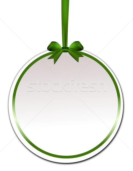 Dekoratif yeşil yay beyaz kâğıt doğum günü Stok fotoğraf © impresja26