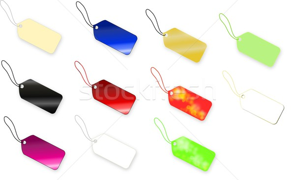 Set of multi colored tag on white background Stock photo © impresja26