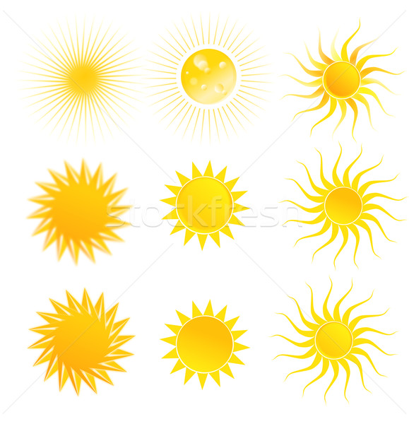 Stock photo: Set of suns isolated on a white background