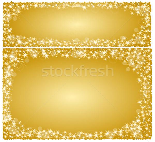 çerçeve altın Yıldız mutlu ışık Stok fotoğraf © impresja26