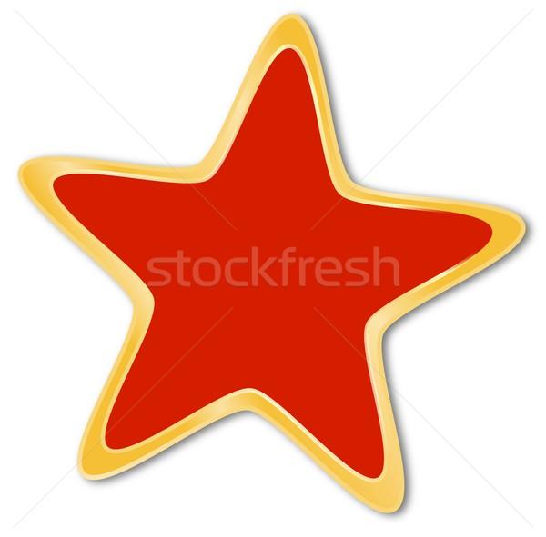 Dekoratif star kırmızı altın çerçeve beyaz Stok fotoğraf © impresja26