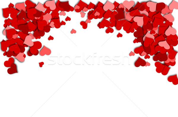 çerçeve kırmızı kalpler beyaz sevgililer günü sevmek Stok fotoğraf © impresja26