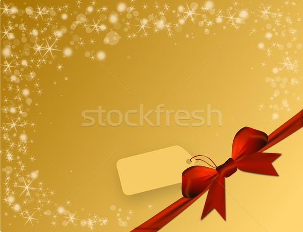 Parlak altın kırmızı yay köşe fiyat Stok fotoğraf © impresja26