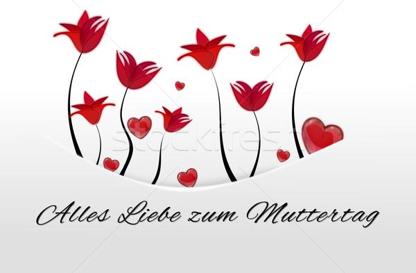 Branco cartão bolso flores vermelhas corações longe Foto stock © impresja26