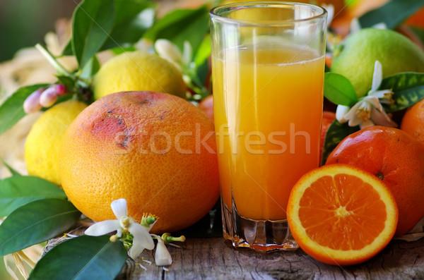 Vidro naturalismo suco de laranja natureza folha fruto Foto stock © inaquim