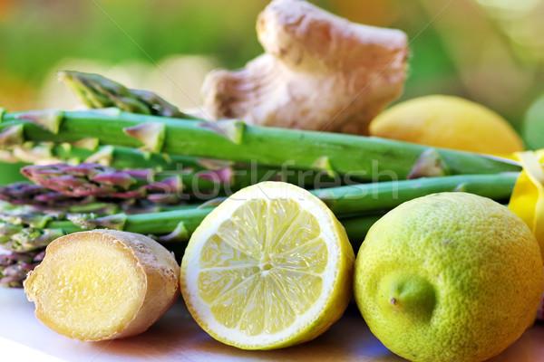 Citromok gyömbér zöldségek növény friss makró Stock fotó © inaquim