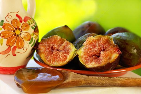 Figo frutas colher mel verde grupo Foto stock © inaquim