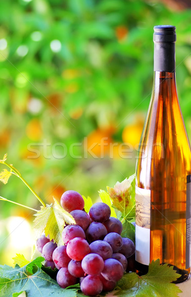 Grapes and wine bottle Stock photo © inaquim