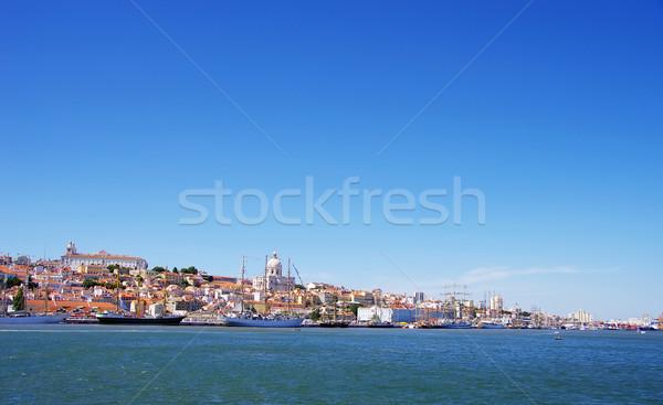 Paisagem Lisboa veleiros céu edifício verão Foto stock © inaquim