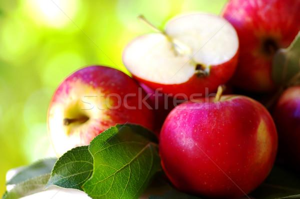 Olgun kırmızı elma tablo yeşil gıda Stok fotoğraf © inaquim