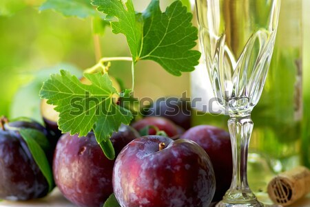 bottle and glass of wine with grapes Stock photo © inaquim
