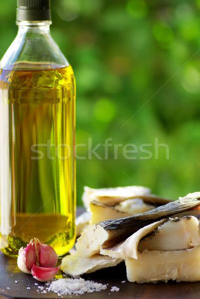 Olie knoflook voedsel hout vis achtergrond Stockfoto © inaquim