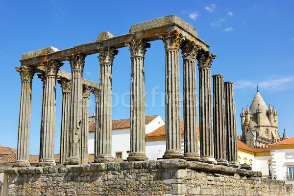 Roman temple and cathedral tower of Evora, Portugal. Stock photo © inaquim