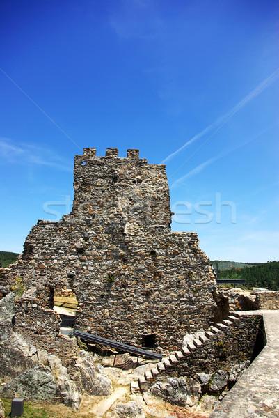 Duvar eski kale köy Portekiz Bina Stok fotoğraf © inaquim
