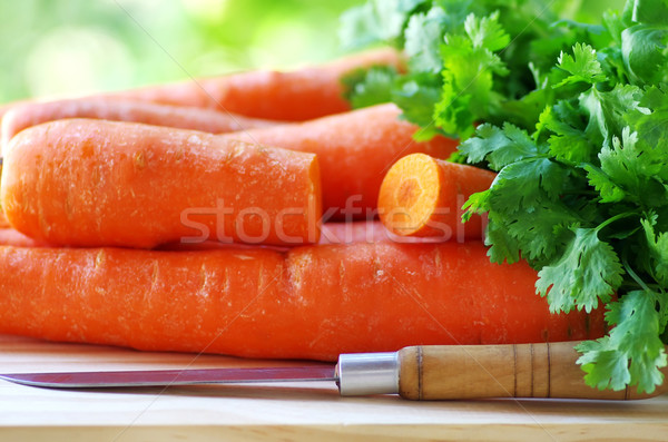 Preparation of a carrot salad and coriander Stock photo © inaquim