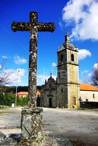 Oude kruis kapel wolken jesus Blauw Stockfoto © inaquim