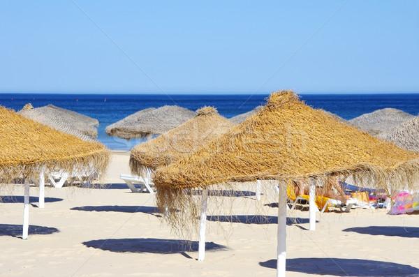 Beach umbrellas at Portugal Stock photo © inaquim